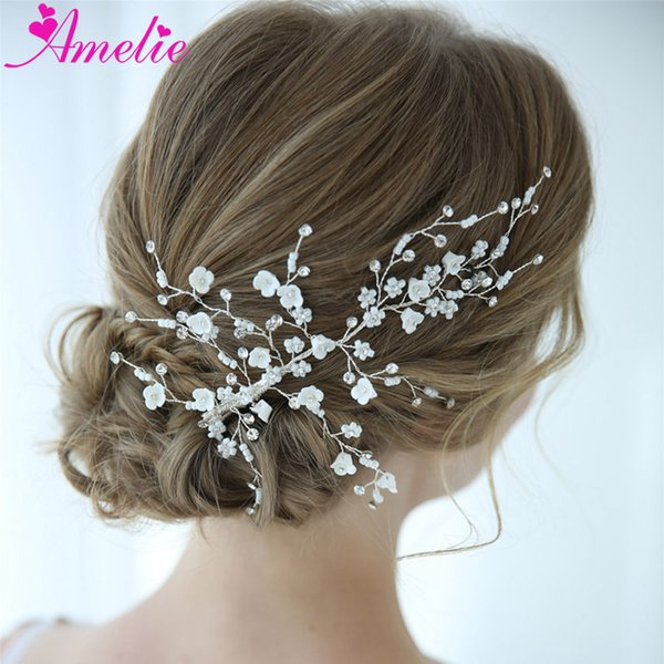 Wedding Barrette Enchanted Floral and Rhinestone Hair Clip Bridal Accessories Hair Claws Baby Shower Headpiece Jewelry Clips