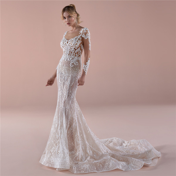 Hot Sensual Mermaid Wedding dresses Sexy back Court Train Bridal Gown Glamorous champagne illusion lining glitter lace
