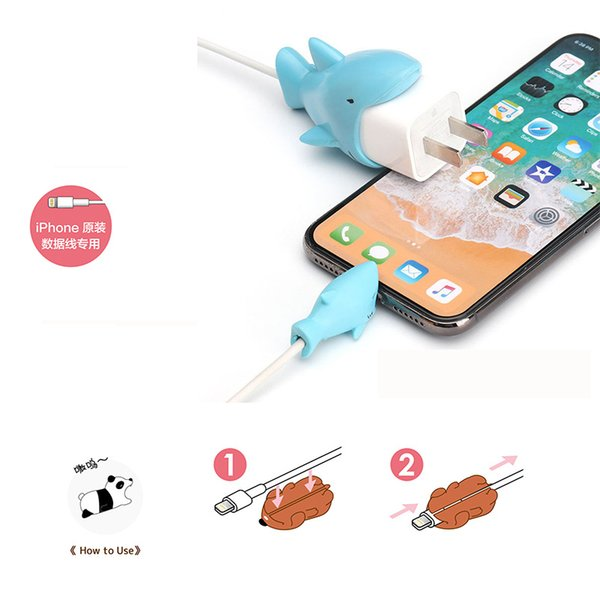 Cable Bite Adapter Protector data line USB Wall Charger Protective Kawaii Animal Cover for Phone party favor TC190415 50pcs