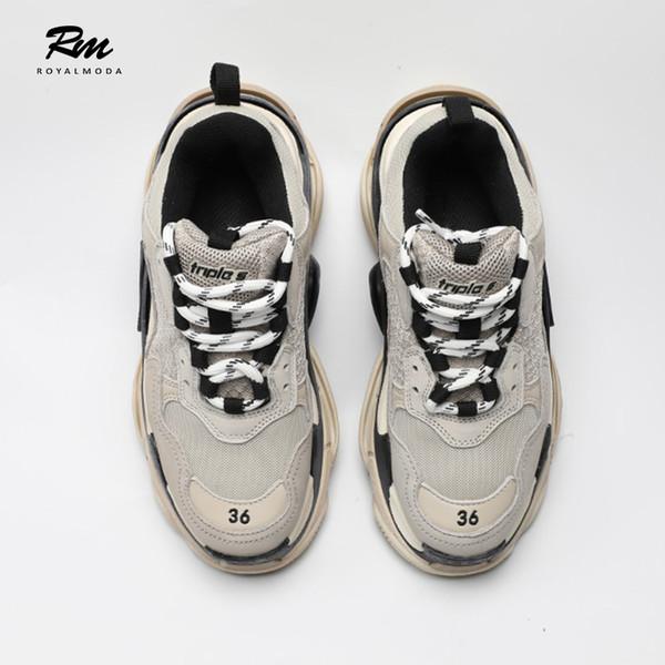 2019 New Best Quality BAL Triples Leather Sneakers Beige Icream Women'S Man'S Sports Walking Shoes EU39 Italian Shoes Cute Shoes From Sunace, $190.32|