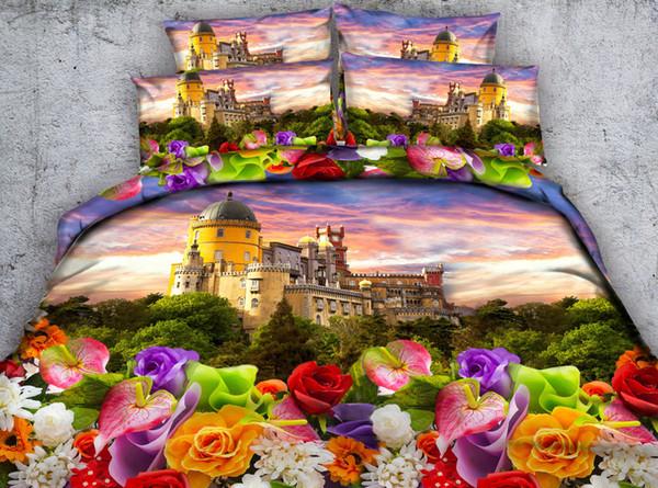 3D castle duvet cover panda bedding sets floral bedspreads pillow shams 3pc without comforter animal bedlinens blue purple bed set