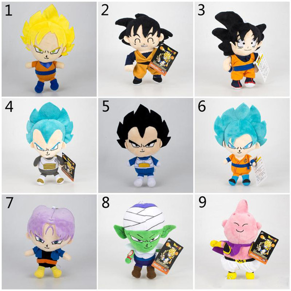 16-20cm Dragon Ball Z Plush Toys New Cartoon Kuririn Vegeta Goku Gohan Piccolo Beerus Stuffed Dolls Kids Christmas Gift toy B