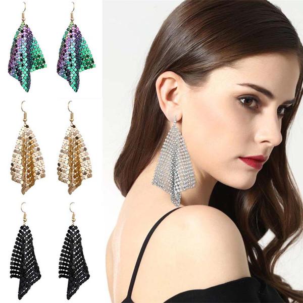 Fashion Bohemian Women Long Tassel Stud Earring Vintage Dangle Small Square Ear Drop Girls Charming Earring Gift Jewelry Gifts Wedding