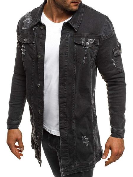Moda uomo buco lungo giacca di jeans Primavera autunno Cowboy Casual Coat mens Cappotto monopetto maschile abbigliamento esterno sottile Marchio di abbigliamento