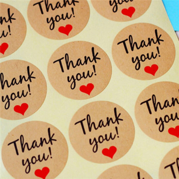 60 Pcs Letter Thank You paper tags self-adhesive love stickers kraft label sticker For Candy Boxes DIY Hand Made Gift Cake DHL Free