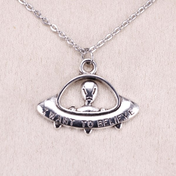 New Fashion Tibetan Silver Pendant alien ET believe spaceship 23*30mm Choker Charm Short Long DIY Necklace Factory Price Handmade Jewelry