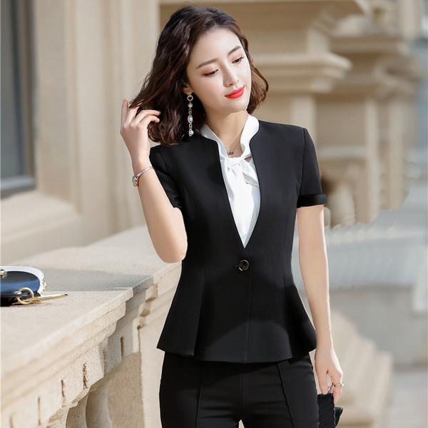 Yaz Resmi Kadın Siyah Blazer Kadın Ceketler Kısa Kollu Ofis Bayanlar Iş Elbisesi Elbise OL Stilleri