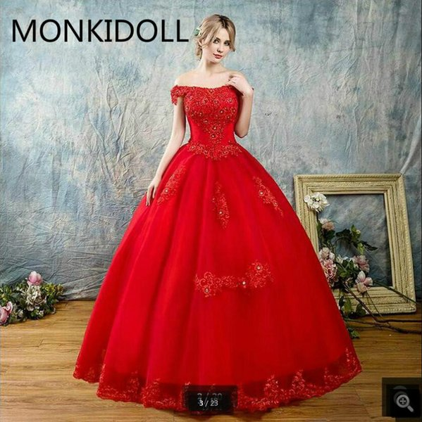 2019 red ball gown off the shoulder wedding dress v neckline lace appliques beaded short sleeve bride gowns princess puffy wedding dresses