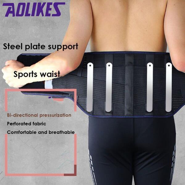 AOLIKES 1 Pcs Taille Bodybuilding Sport Ceinture Pressurisée En Acier Soutenant La Lombaire Colonne Vertébrale Support Douleur Dorsale Strain Gym Hommes Hommes # 185775