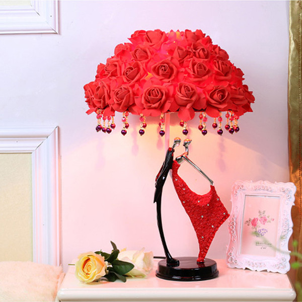 Creative Romantic Wedding Gift Table Lamps Red Rose New Wedding Room Decoration led Lighting Princess Bedside Lamp Send Lover Table Lights