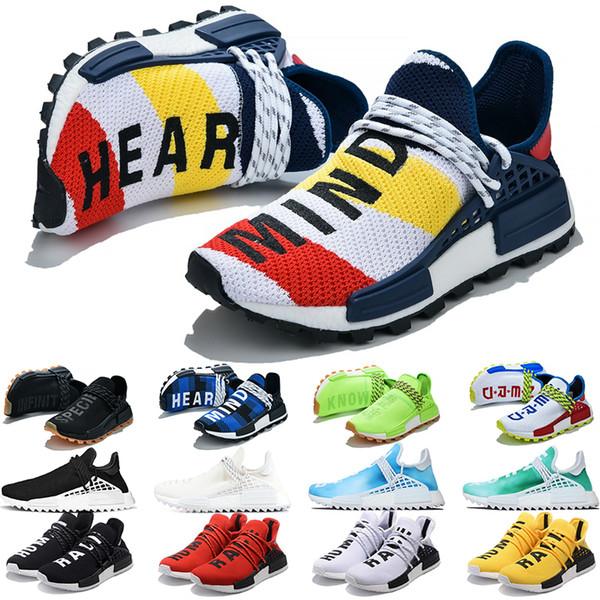 Acheter Adidas NMD Human Race Hommes Chaussures De Course Pharrell Williams HU Coeur Esprit Blanc Noir Jaune Solaire Paquet Mens Runner Sport Sneakers