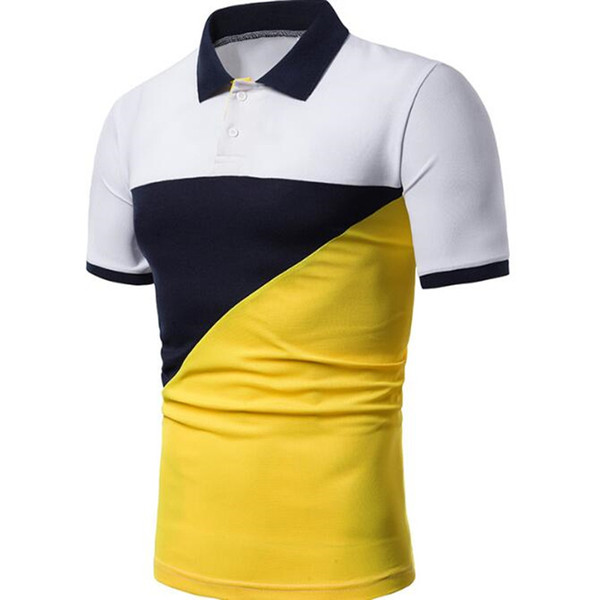 the new men's summer fashion casual matching color short sleeve lapel short sleeve shirt