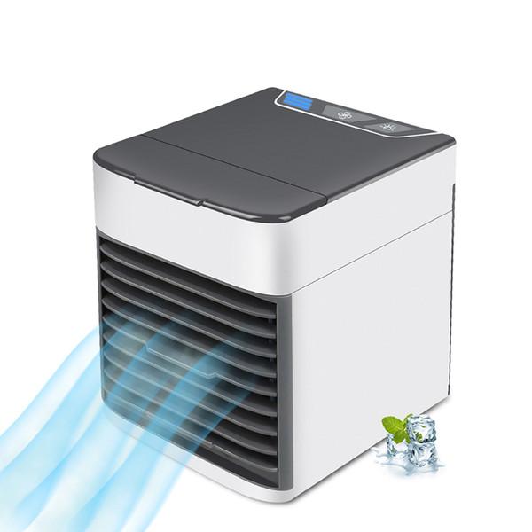 NUEVO USB Aire acondicionado Ventilador Mini refrigerador de aire Refrigeración portátil Aire acondicionado portátil con 7 colores de luz LED para oficina en casa