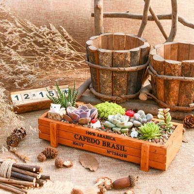 Free Shipping Hot Vintage Wood Garden Flower Planter Succulent Pot Rectangle Trough Box Plant Bed