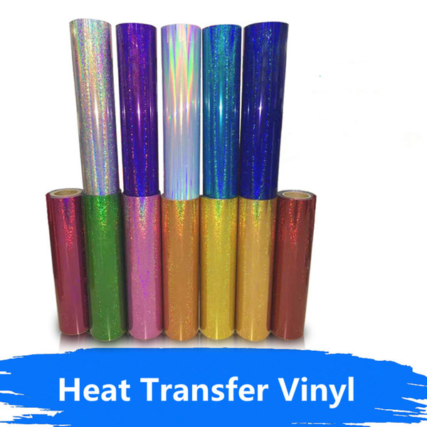 """18 Colors DIY Holographic Heat Transfer Film Decorate T-shirts/Hats Iron on Clothes Cut for Pattern/Size Heat Press 20""""x20"""""""