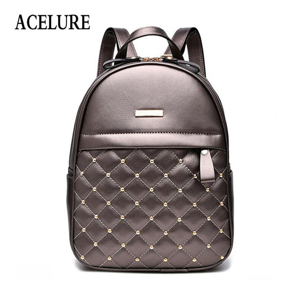 Acelure Women Backpack Hot Sale Fashion Causal Bags High Quality Bead Female Shoulder Bag Pu Leather Backpacks For Girls Mochila Y19061004