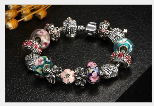 Fashion 925 Sterling Silver Cherry Blossom Murano Lampwork Glass & Crystal Crown European Charm Stopper Beads Fits Pandora Charm Bracelets