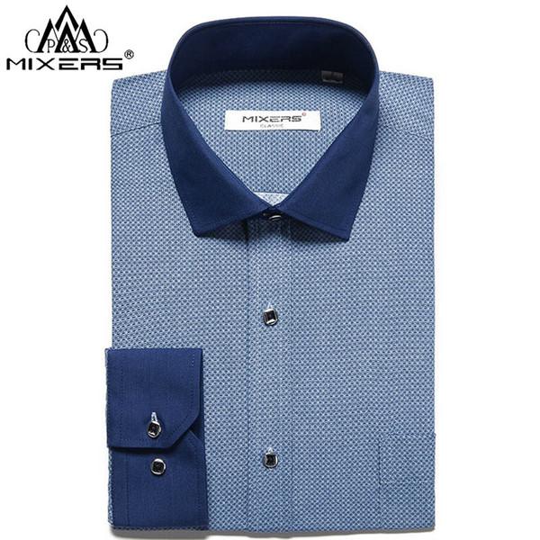 2018 Brand Print Men Shirts Long Sleeve Business Casual Dress Shirts Men Soft Big Size XS-4XL Fashion Clothing