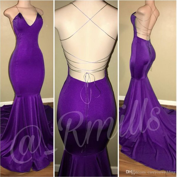 2019 New Sexy Purple Mermaid Prom Dresses Halter Neck Simple Backless Sweep Train Formal Evening Custom Made Cheap Simple Women Gown