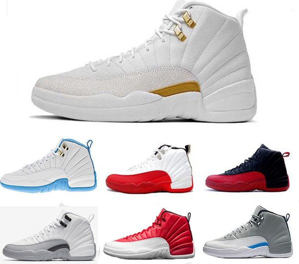 Hot New 12 Basketball Shoes Ovo White Taxi Flu Game Gamma Blue Playoff Flint French Blue Cool Grey 12 Classic Men Women Seankers