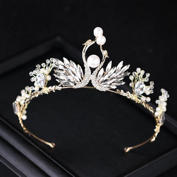 Baroque Gold Swan Tiara for Wedding Brides Hair Decorations Luxury Vintage Women Party Crowns and Tiaras Bridal Jewelry S569