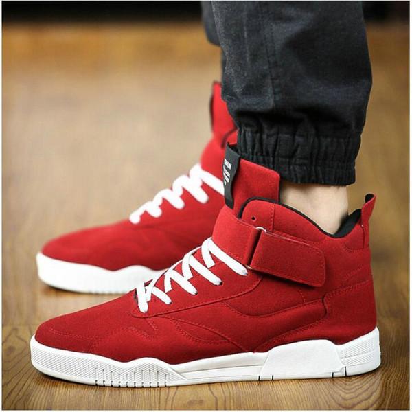 Nuevo M Zapatillas de lona Zapatillas de deporte de hombre Zapatillas Hombre Negro Rojo Casual High Top Sport Walking Lace Up Botines LE-100 # 54595