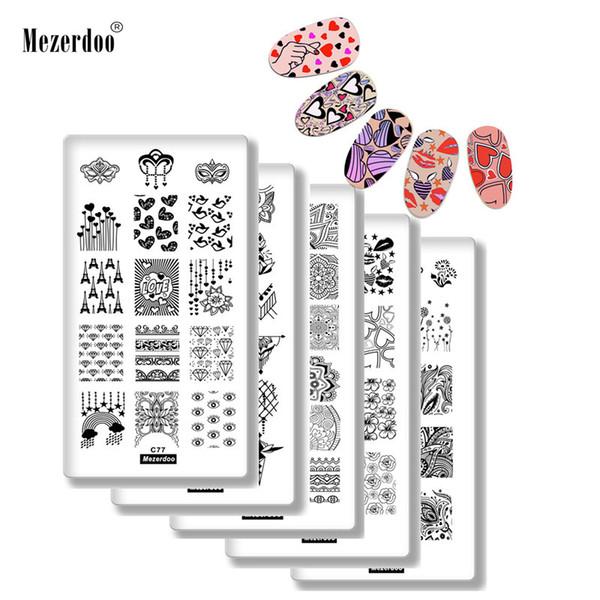 5Pcs Nail Stamping Plates Set Valentine's Day Love Kiss Dandelion Flower Rectangle Nail Art Template DIY Image Nail Decoration