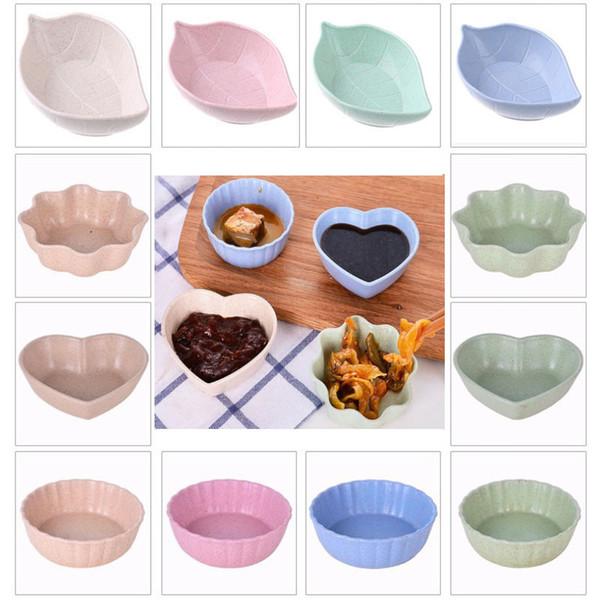 Super Leaf Shape небольшая тарелка маленькая миска соевый соус фрукты посуда плоская и глубокая тарелка Пшеничная солома Суши тарелка кухонные принадлежности HH9-2135