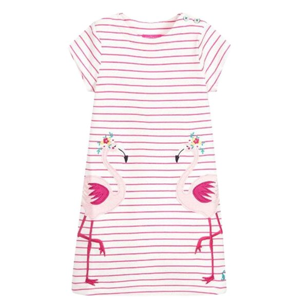 Unicon Girls Dresses Pink Swan Cartton Girls Dresses kids designer clothes 100% Cotton Quality Striped Cartton Baby Girls Dresses Wholesale