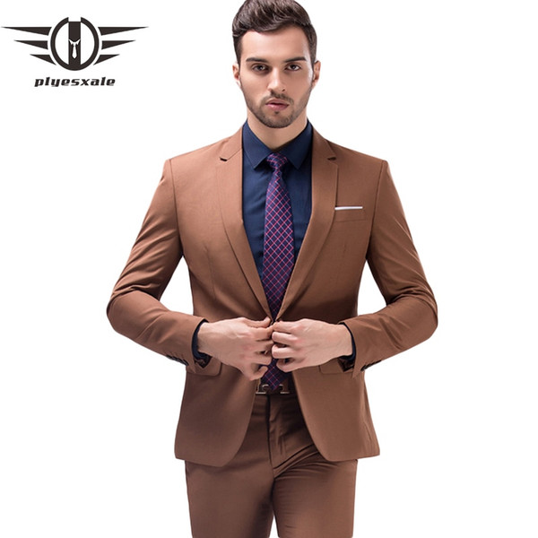 Plyesxale Brown Green Burgundy Black Pink Suits Men 2018 Brand Slim Fit Groom Wedding Suit Korean Fashion Party Prom Wear Q121 #495811