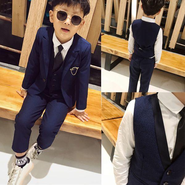 2019 Yakışıklı Mavi Erkek Resmi Giyim Ceket Pantolon 3 Parça Set Düğün Yemeği Çocuk Çocuklar için Smokin Suits