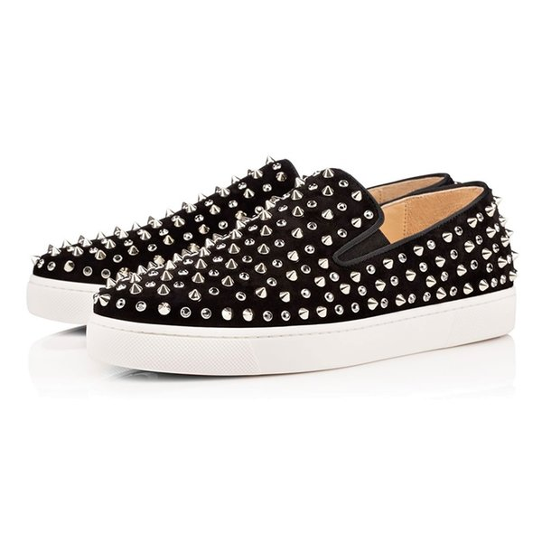 Luxury Casual Shoes Red Bottom ACE Glitter Rivet Studded Spikes Bead Velvet Leather Business Party Men Women Brand Design Flats Loafers s10