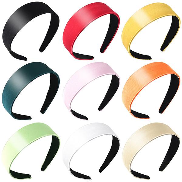 Las niñas de color de pelo Wide regalos sólidos de plástico Headwear para las mujeres Accesorios diadema banda nueva 1Pcs Satin Hair aro de Hairband