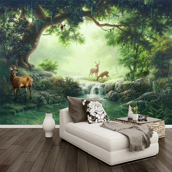 Personalizado Mural Papel De Parede 3D Floresta Elk Pintura A Óleo Papel De Parede Sala de estar Sofá TV Café Papel De Parede Cenário Home Decor Murais