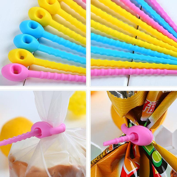 10Pcs/lot Silicone Bag Clips Strapping Tape Zip Bundling Rope Cord Twist All-purpose Multi-use Pet Cat Dog Food Bag Sealing Clip