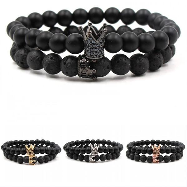 2019 Mode Vintage Vulkanstein Achat Perlen Naturstein Elastisches Armband Krone Perlen Armband Weißkiefer Stein Paare Armband M475A