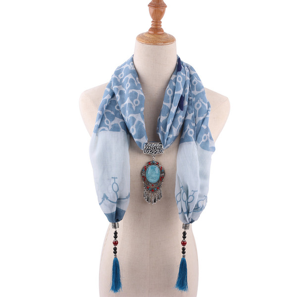 European women's shawl necklaces ethnic scarf jewelry pendant scarves accessories 1842