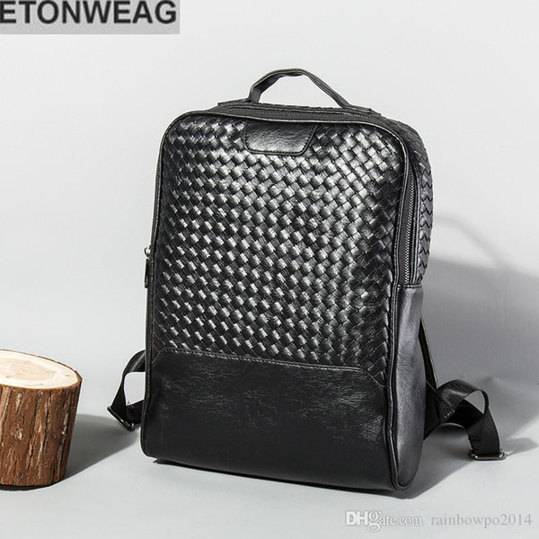 Factory direct selling brand men bag classic woven mens backpack fashion leather business computer backpack fashion hand knitted Backpack