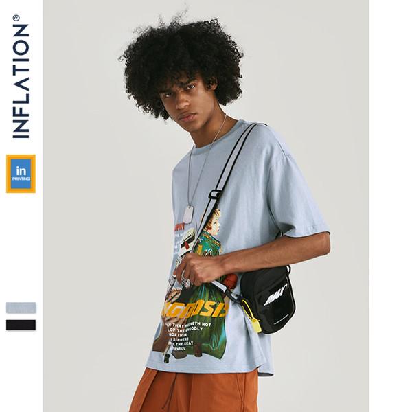 ИНФЛЯЦИЯ Футболки Funny Man 2019 SS Коллекции Летняя футболка Уличная одежда Мужчины Хлопок Повседневная футболка Fashion Street Tee 91350S