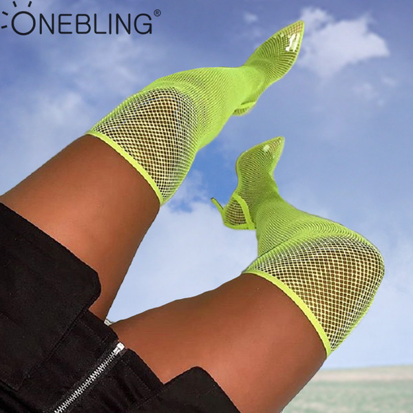 OneBling Plus Size Over The Knee Fishnet Mesh Summer Women High Heel Boots 2019 Snakeskin Print Pointed Toe Thin Heel Boots