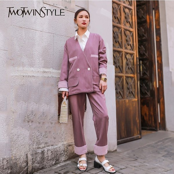 TWOTWINSTYLE Hit Color Conjuntos de dos piezas Blazer de manga larga para mujer Cintura alta Tobillo Longitud Pantalones Traje para mujer 2019 Moda