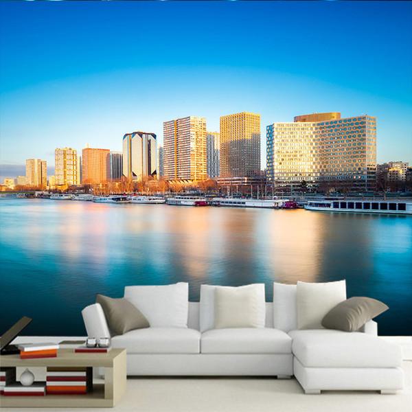 Papel pintado personalizado mural grande HD Arquitectura mediterránea griega junto al mar diseño fotográfico sala de estar sofá restaurante Fondo papel de pared