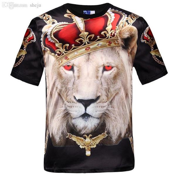 Wholesale-Pop Fashion Women Men Hip Hop Crown Lion Print T Shirt Mens 2d Compression T-shirt Swag Tshirt Homme Brand Clothing For Men