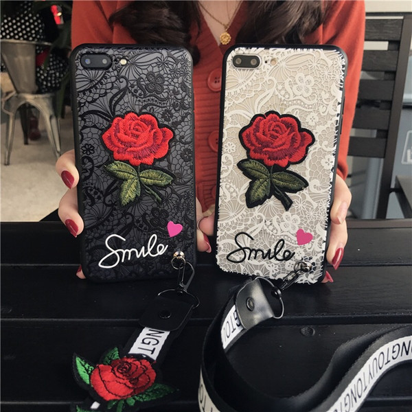 Premium Rose Cell Phone Case Cover Protective with Lanyard Embroidered Lace Mobile Phone Case for iphone 7 8 plus X XR XS Max