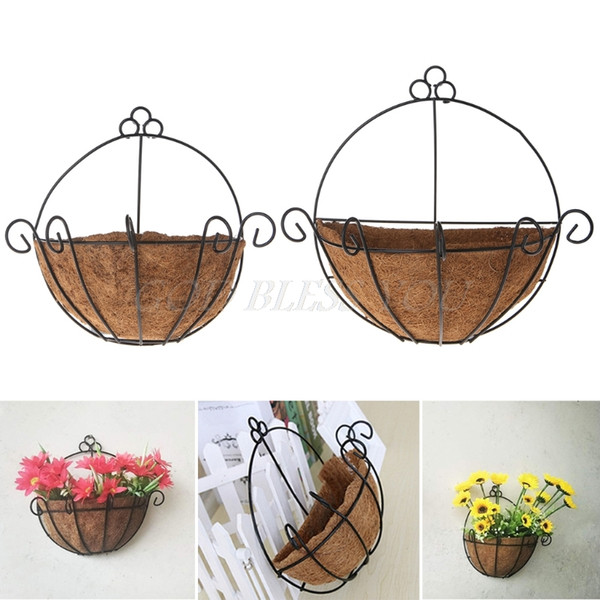 Flowerpot Iron Coconut DIY Garden Hanging Planters Wall Baskets Pot Half Round