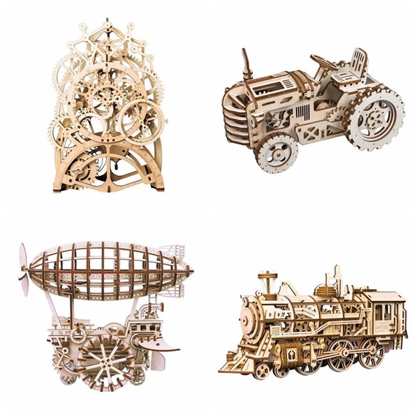 best selling Robotime 8 Kinds DIY Gear Drive Wooden Mechanical Model Building Kits Assembly Toy Gift for Children Teens Adult LGLK Y190530