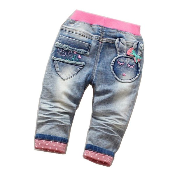 2019 Hot Sale Children's Denim Jeans Spring/Autumn Kids Trousers Cartoon Rabbit Print Denim Pants For Girl 1-5 years