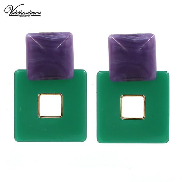 Vodeshanliwen New Design Square Resin Dangle Earrings For Women Bohemia Statement Big Earrings Trendy Jewelry Wholesale