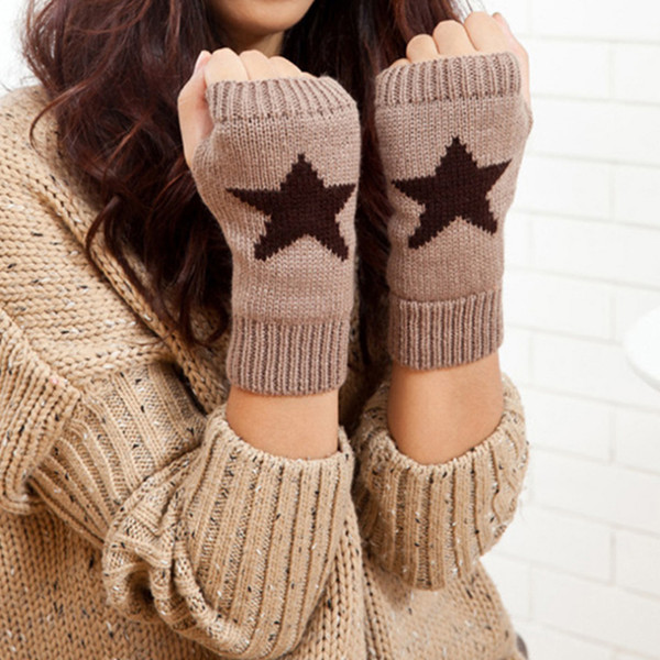 2019 Autumn Winter Knitted Gloves Womens Solid Color Five-pointed Star Print Warm Mittens Gloves Fingerless Female