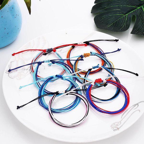 Multilayer Wax Thread Woven Bracelets Handmade Friendship Bracelet Wax String Bracelets Multicolour Adjustable Braided Bangle Women H999F